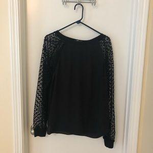 Ann Taylor Loft black long-mesh sleeve blouse